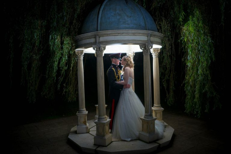 military wedding couple kissing