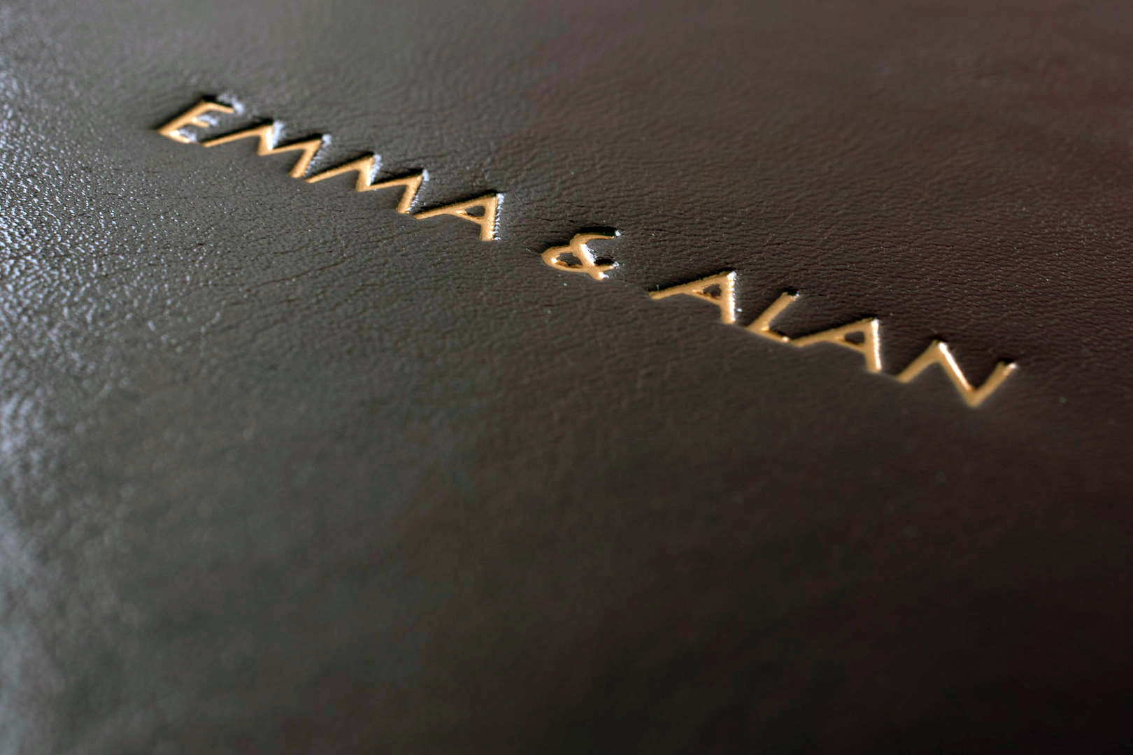 embossed text cover personalisation option text on cover photo album photo book rose gold foil minimal simple